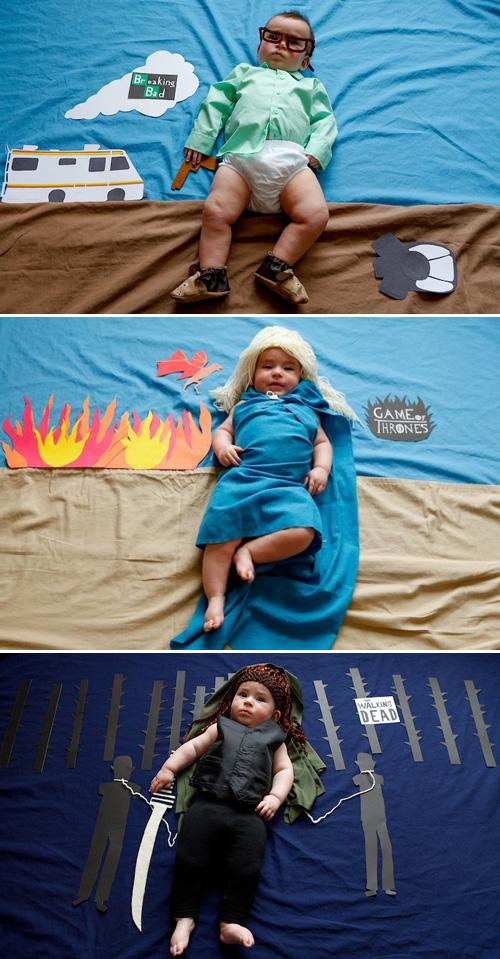 Bebès vestits com personatges de TV