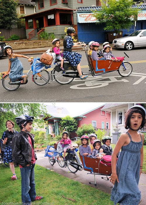Com portar 6 nens a la bicicleta