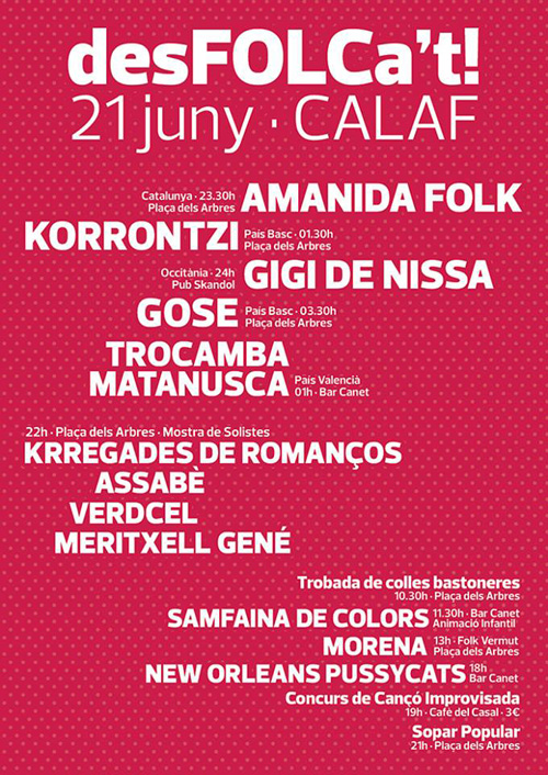 22è Festival de Música Tradicional de Calaf, desFOLCa't!