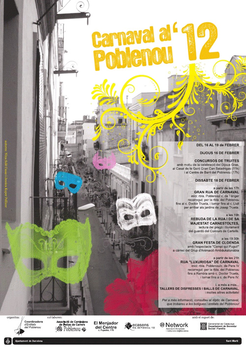 Rua familiar al Carnaval de Poblenou