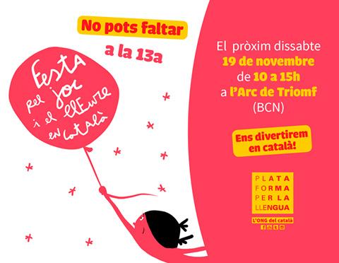 Festa pel joc i el lleure en català a l'Arc de Triomf, Barcelona