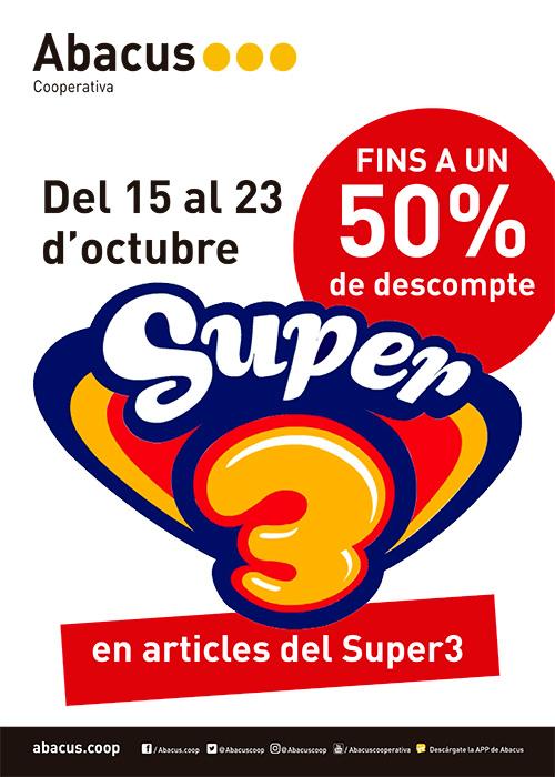 Promoció Abacus: 50percent de descompte en articles del Super3!